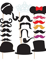 cheap -20 PCS Mustache Card Paper Photo Booth Props Party Fun Favor for Wedding Birthday Baby shower