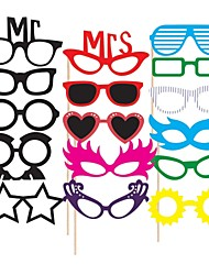 cheap -16 PCS Glasses Card Paper Photo Booth Props Party Fun Favor for Wedding Birthday Baby shower