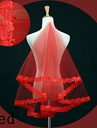 cheap -One-tier Lace Applique Edge Wedding Veil Fingertip Veils with Embroidery Lace / Tulle / Oval
