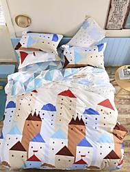 cheap -Novelty 4 Piece Polyester Polyester 1pc Duvet Cover 2pcs Shams 1pc Flat Sheet