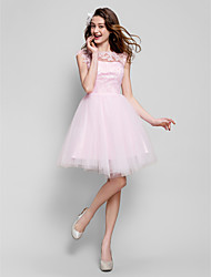 cheap -Ball Gown Illusion Neck Short / Mini Tulle Floral / Cute / Pastel Colors Cocktail Party / Prom Dress with Beading / Appliques 2020
