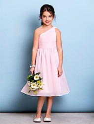 cheap -A-Line One Shoulder Knee Length Chiffon Junior Bridesmaid Dress with Draping / Side Draping / Ruched / Natural
