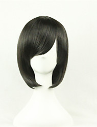 cheap -Synthetic Wig Cosplay Wig Straight Style Asymmetrical Wig Black Synthetic Hair Women's Natural Hairline Black Wig Short