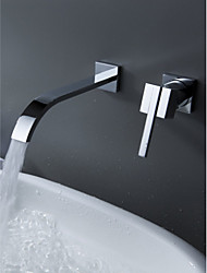 cheap -Bathtub Faucet - Contemporary Chrome Wall Mounted Ceramic Valve Bath Shower Mixer Taps / Single Handle Two Holes