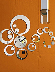 cheap -Fashion Removable Clock Mirror Style DIY Art Wall Stickers for Home Decor (Silver)