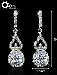 cheap -Wedding Lady Earrings Vivid CZ Stone Rhodium Plated Jewelry Sparkling Lady Drop Earrings For Women