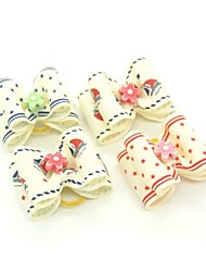 cheap -Lovely Ribbon Style Flower Decorated Rubber Band Hair Bow for Pet Dogs  (Random Color)