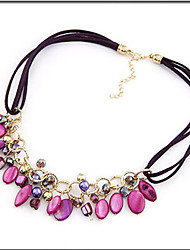 cheap -Women's Choker Necklace Ladies Bohemian European Boho Resin Shell Alloy Purple Blue Green Necklace Jewelry For