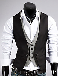 cheap -Men's Work Vest, Solid Colored Sleeveless Cotton / Polyester Black / Brown / Business Formal / Slim