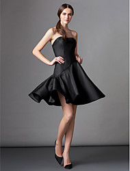 cheap -A-Line Fit & Flare Little Black Dress Homecoming Cocktail Party Dress Strapless Sleeveless Knee Length Satin with Pleats 2020