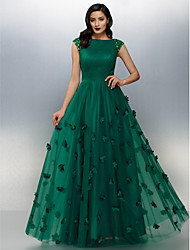 cheap -A-Line Boat Neck Floor Length Tulle Floral / Green Prom / Formal Evening Dress with Crystals / Appliques 2020