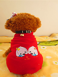 cheap -Dog Sweater Dog Clothes Red / White Mixed Material Costume For Winter