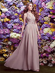 cheap -Sheath / Column Halter Neck Floor Length Chiffon Bridesmaid Dress with Criss Cross