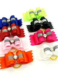 cheap -Elegant Ribbon Style Rhinestone Decorated Rubber Band Hair Bow for Pet Dogs  (Random Color)