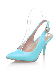 cheap -Women's Heels Kitten Heel Pointed Toe Buckle Patent Leather Comfort Walking Shoes Spring / Summer Green / Blue / Pink / Party & Evening / 2-3 / Party & Evening / EU39