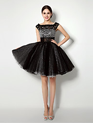 cheap -Ball Gown Bateau Neck Short / Mini Tulle Cocktail Party Dress with Lace Sash / Ribbon Pleats