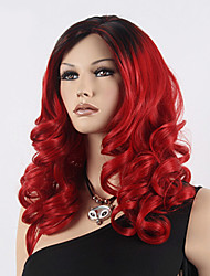 cheap -Synthetic Wig Wavy Style Asymmetrical Wig Red Synthetic Hair Women's Natural Hairline Red Wig Long