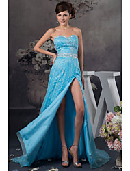 cheap -A-Line Formal Evening Dress Sweetheart Neckline Floor Length Satin with Beading 2021