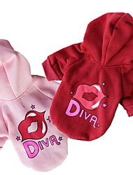 cheap -Cat Dog Coat Hoodie Winter Dog Clothes Red Pink Costume Polar Fleece Cotton Stars Letter & Number Cosplay XS S M L