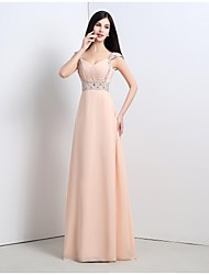 cheap -A-Line Formal Evening Dress Straps Floor Length Chiffon with 2021