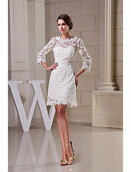 cheap -A-Line Jewel Neck Knee Length All Over Floral Lace 3/4 Length Sleeve See-Through Made-To-Measure Wedding Dresses with Lace 2020