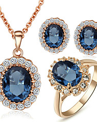 cheap -Women's Crystal High End Crystal Jewelry Set Stud Earrings Pendant Necklace Solitaire Oval Cut Circle Dainty Ladies Elegant Bridal Crystal Cubic Zirconia Rhinestone Earrings Jewelry Blue For Wedding