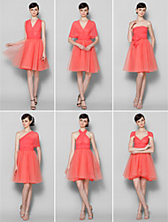 cheap -A-Line V Neck / Strapless / Halter Neck Knee Length Chiffon Bridesmaid Dress with by
