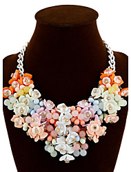 cheap -Women's Statement Necklace Plaited Wrap Flower Ladies Colorful Festival / Holiday Chunky Resin Silver Plated Alloy Yellow Blue Rainbow Necklace Jewelry For Party Special Occasion