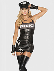 cheap -Police Cosplay Costume Party Costume Women's Police Uniforms Halloween Carnival Festival / Holiday Polyester Terylene Black Carnival Costumes Patchwork