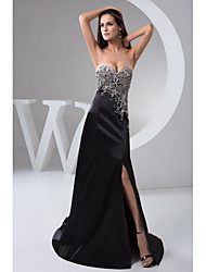 cheap -A-Line Formal Evening Dress Sweetheart Neckline Floor Length Chiffon with Beading Appliques 2020