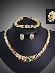 cheap -Crystal Jewelry Set Pendant Necklace Adjustable Ring Statement Vintage Party Work Casual Link / Chain Earrings Jewelry Gold For Party