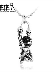 Недорогие -нержавеющая сталь танец череп ожерелье кулон сталь титан уникальный стиль череп подвеска для человека