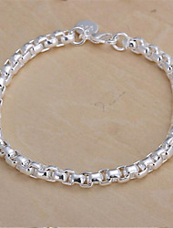 cheap -Chain Bracelet Ladies Classic Sterling Silver Bracelet Jewelry For Christmas Gifts Wedding Party Daily Casual / Silver Plated