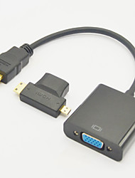 cheap -3-in-1 HDMI Female to Mini HDMI Male And To Micro HDMI Male Adapter+HDMI V1.3 to VGA M/F Cable