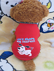 cheap -Dog Shirt / T-Shirt Dog Clothes Dark Red Costume Baby Small Dog Cotton S
