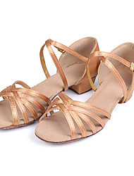 cheap -Latin Shoes Ballroom Shoes Salsa Shoes Line Dance Sandal Buckle Low Heel Camel Black Brown Buckle Kid's / Suede