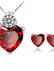 cheap -Women's Crystal Garnet Jewelry Set Solitaire Heart Ladies Crystal Earrings Jewelry Red For Party Daily Casual / Necklace