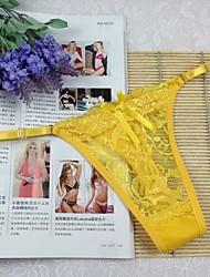 cheap -Women's Lace Lace G-strings & Thongs Panties / Ultra Sexy Panties Jacquard Mid Waist Black White Purple One-Size