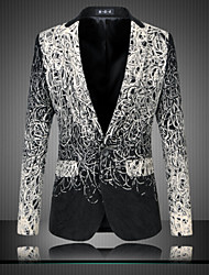 cheap -Men's Party / Daily Street chic / Sophisticated Spring / Fall Plus Size Regular Blazer Long Sleeve Cotton Print Black / Slim