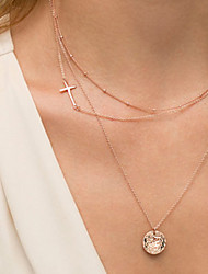 cheap -Women's Layered Necklace Sideways Cross Cross Ladies Casual / Daily Fashion Alloy Screen Color Necklace Jewelry For