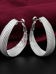 cheap -925 Silver Plated Hollow Out Round Hoop Earrings Party/Daily 2pcs