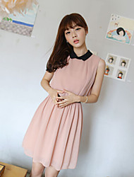 cheap -Women's Screen Color Pink Dress Summer Party A Line Solid Colored Peter Pan Collar Pleated S M