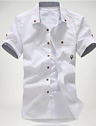 cheap -Men's Daily Beach Plus Size Slim Shirt - Solid Colored Print Button Down Collar White / Short Sleeve / Summer