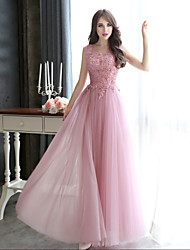 cheap -A-Line Illusion Neck Floor Length Tulle / Beaded Lace Elegant Formal Evening Dress 2020 with Beading / Appliques