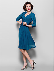 cheap -A-Line Mother of the Bride Dress Wrap Included V Neck Knee Length Chiffon 3/4 Length Sleeve with Criss Cross Side Draping Flower 2021