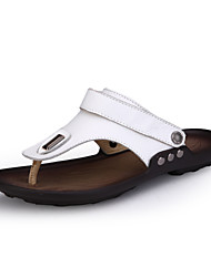 cheap -Men's Comfort Shoes Leather / Nappa Leather / Cowhide Summer / Fall Sandals Black / White / Athletic / Casual / Outdoor