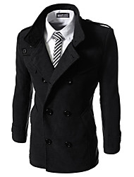 cheap -What lees Men's Casual Pure Long Sleeve Regular Trench coat