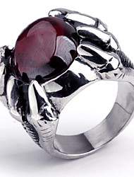 cheap -Men's Party/Casual Europe Style Ruby Titanium Steel Statement Rings