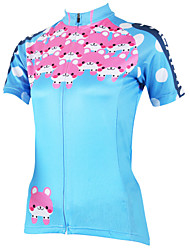 cheap -ILPALADINO Women's Short Sleeve Cycling Jersey Polyester Blue Plus Size Bike Jersey Top Mountain Bike MTB Road Bike Cycling Breathable Quick Dry Ultraviolet Resistant Sports Clothing Apparel