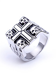 cheap -Men's Party/Casual Fashion Europe Style Cross Skull Titanium Steel Statement Rings